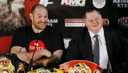Boxing - Tyson Fury & Wladimir Klitschko Head-to-Head Press Conference - Manchester Arena - 27/4/16 Tyson Fury and promoter Mick Hennessy during the head to head press conference Action Images via Reuters / Jason Cairnduff Livepic EDITORIAL USE ONLY.